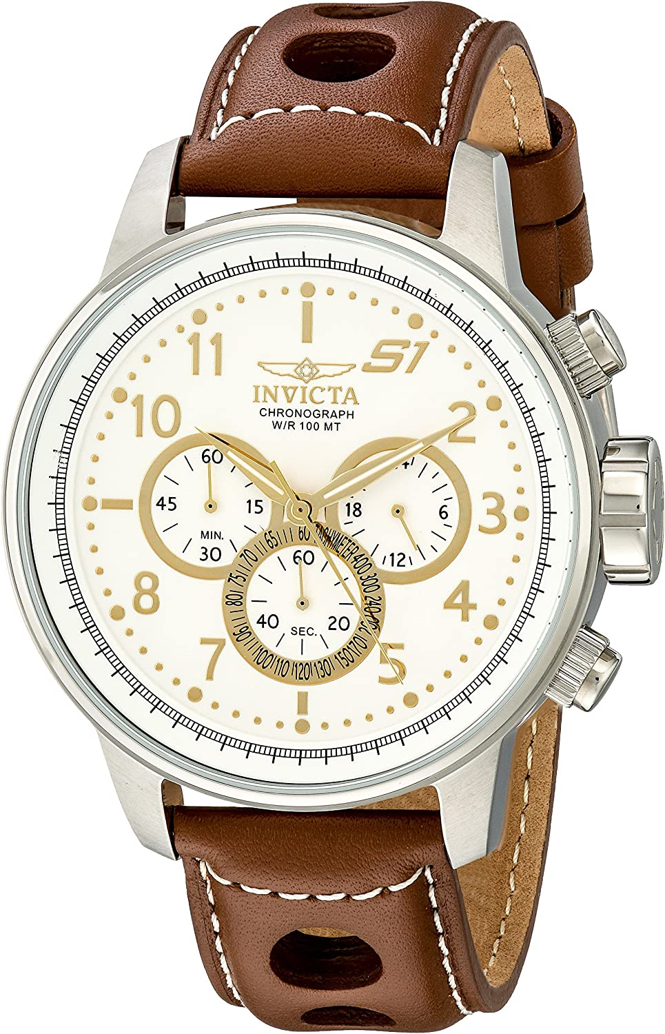 Invicta Men s 16010 S1 Rally Stainless Steel Watch with Brown Leather Band