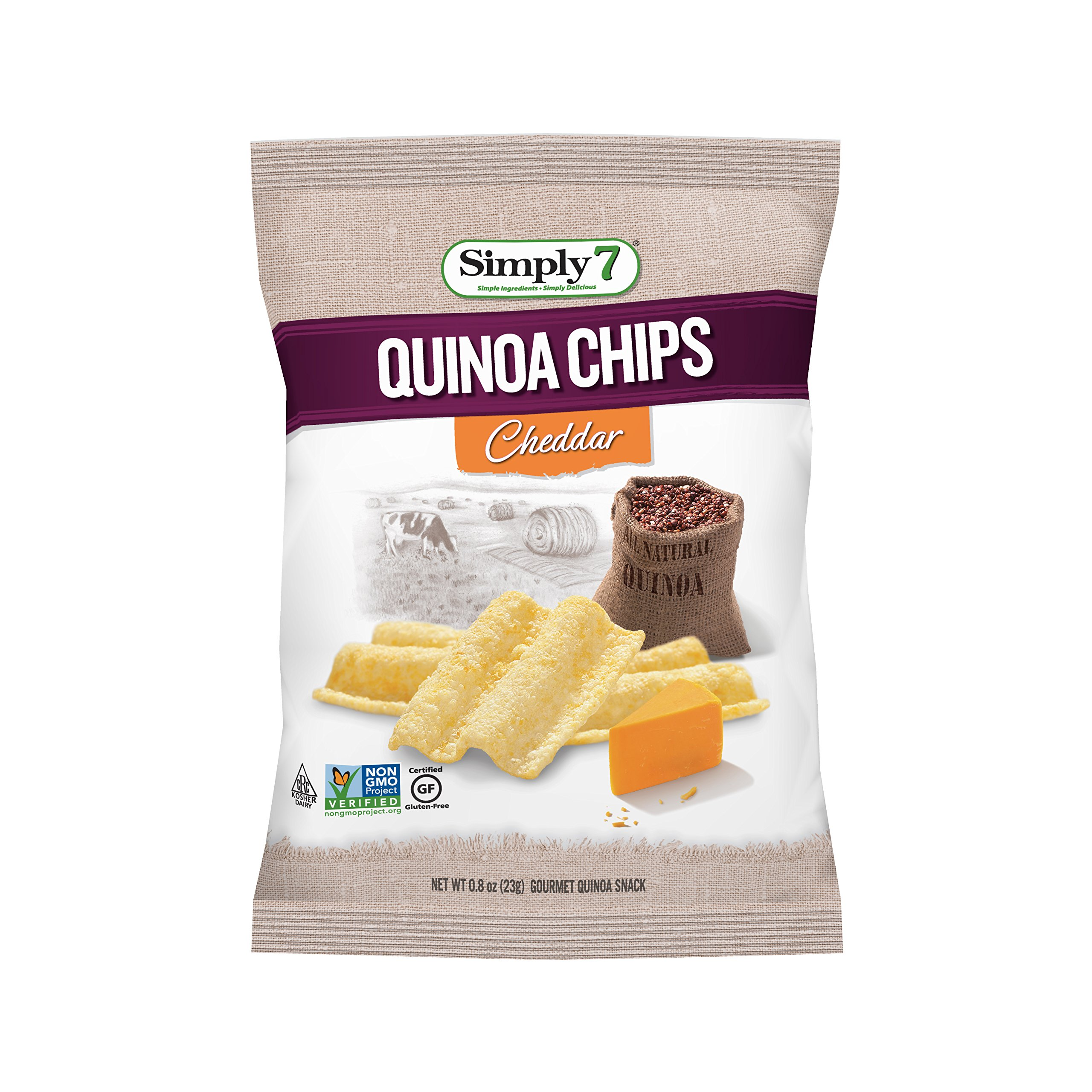 Simply7 Gluten Free Quinoa Chips, Cheddar, 0.8 Ounce (Pack of 24)