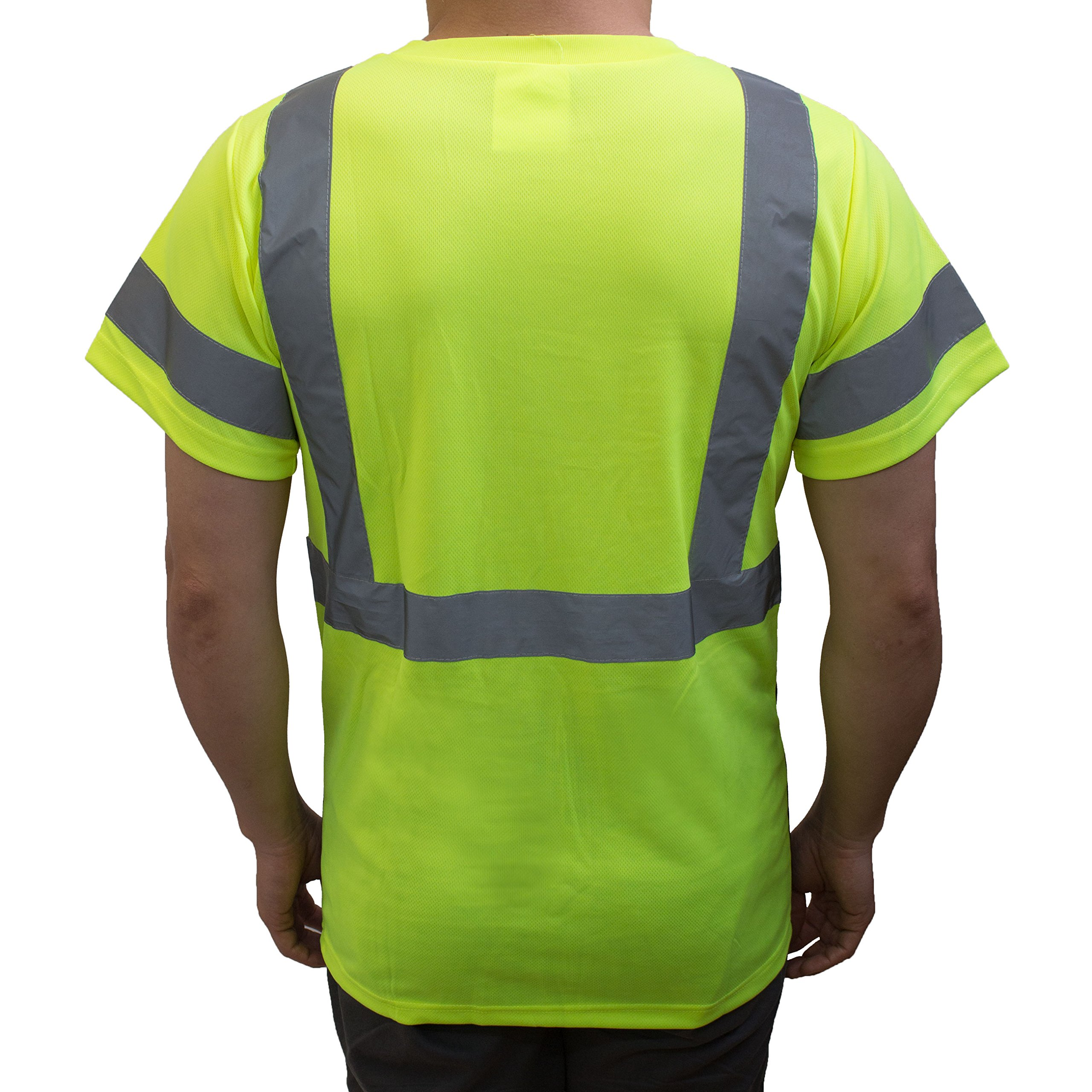 NY BFS8512 High-Visibility Class 3 T Shirt with Moisture Wicking Mesh Birdseye, Black Bottom (Large, Green) by New York Hi-Viz Workwear (Image #3)