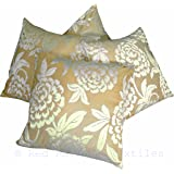 Set of 4 Cream & Gold Flocked Velvet Damask 18 inch Cushion Covers
