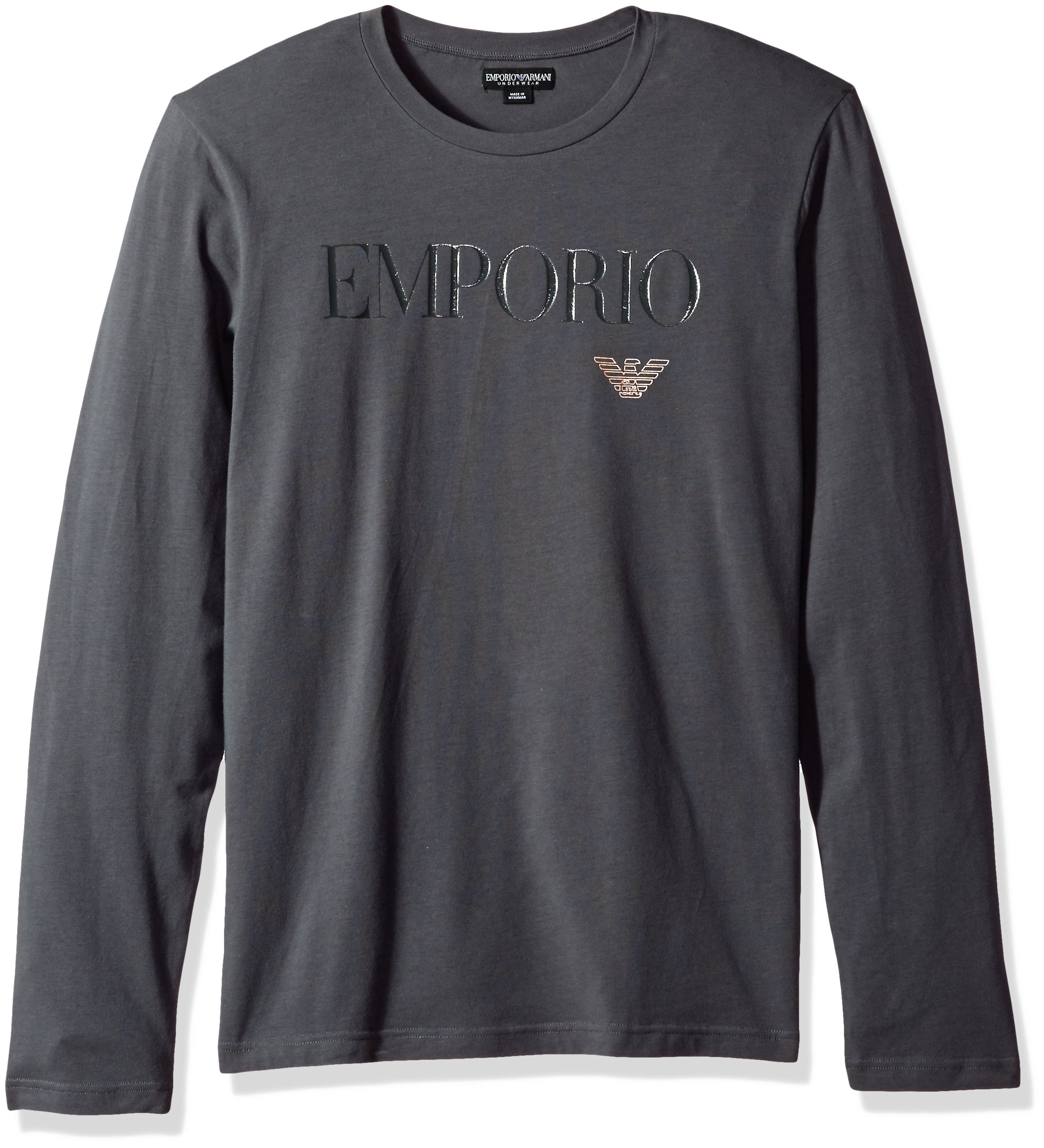 Emporio Armani Men's Megalogo L/s Crew T-Shirt, Dark Gray, M
