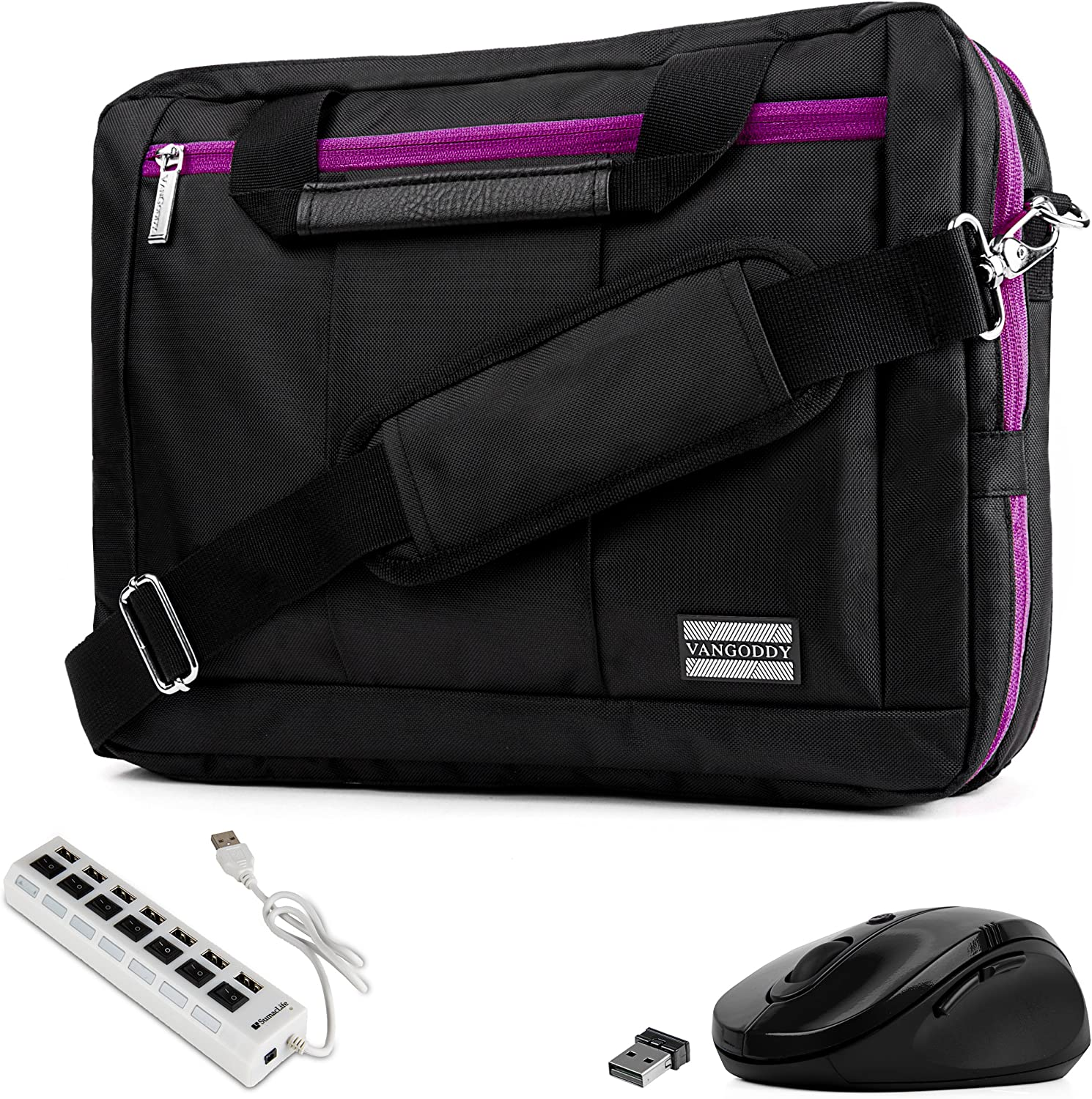 """Purple Trim Convertible Laptop Bag, USB Hub, Mouse for Dell Inspiron, Latitude, XPS, ChromeBook 11"""" to 13.3 inch"""