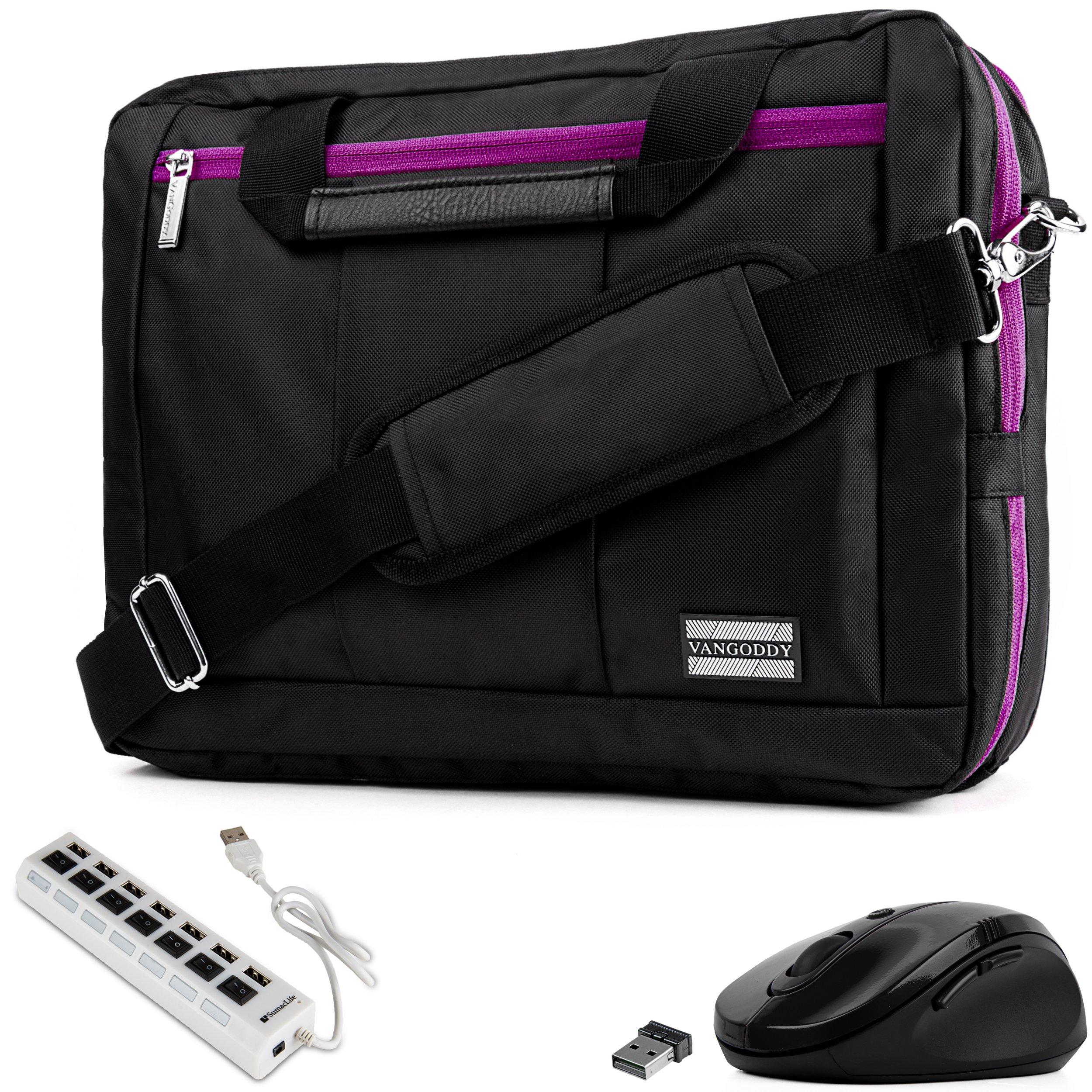 VanGoddy 3-in-1 Purple Trim Hybrid Laptop Bag w/Mouse and USB HUB for Lenovo Flex/ThinkPad/IdeaPad/Legion/Yoga 14''-15.6in