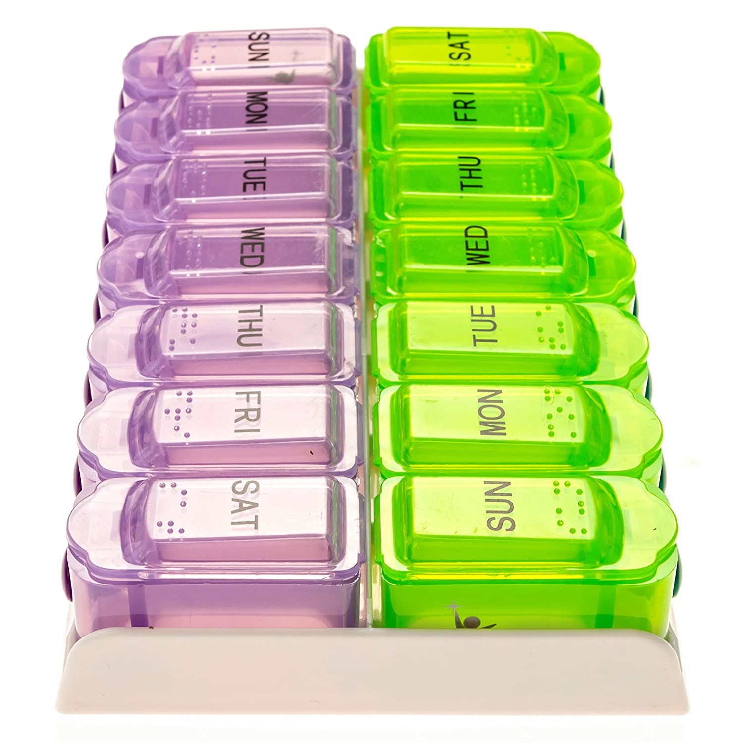 Amazon.com: 7 day AM PM or double push button pill organizer Weekly ...