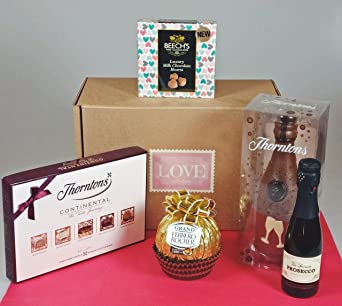 Moreton Gifts Love Collection - Thorntons Continental & Chocolate Champagne Bottle, Ferrero Rocher & Beech's