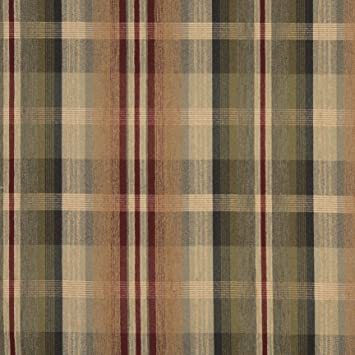 Amazoncom Tan Beige And Burgundy Plaid Chenille Upholstery - Chenille upholstery fabric