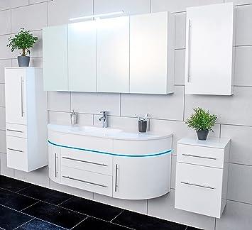 Badmöbel blau  SAM® 5tlg. Design Badmöbel-Set, 140 cm halbrund, Hochglanz weiß, LED ...