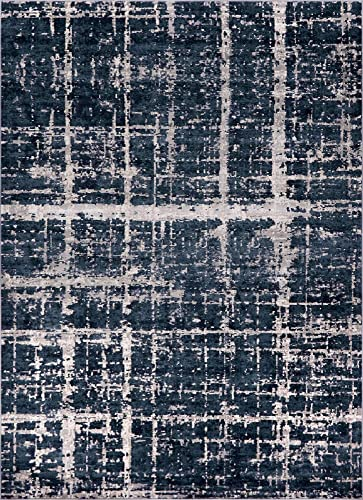 Unique Loom Uptown Collection by Jill Zarin Collection Textured Modern Navy Blue Area Rug 9 0 x 12 0