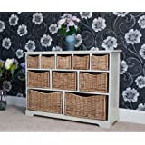 Casamoré Gloucester Large Storage Chest / Unit - Chest Of Drawers With 10 Removable Willow Baskets In Off White - FREE DELIVERY