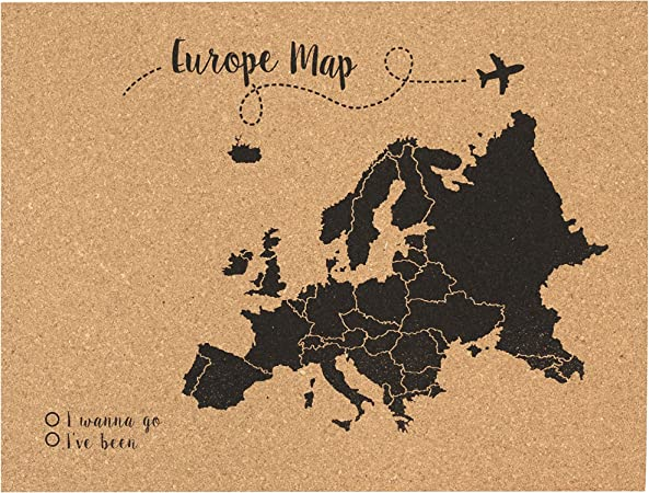 Decowood - Mapa de Corcho Europa, Pequeño, para Marcar Tus Viajes ...