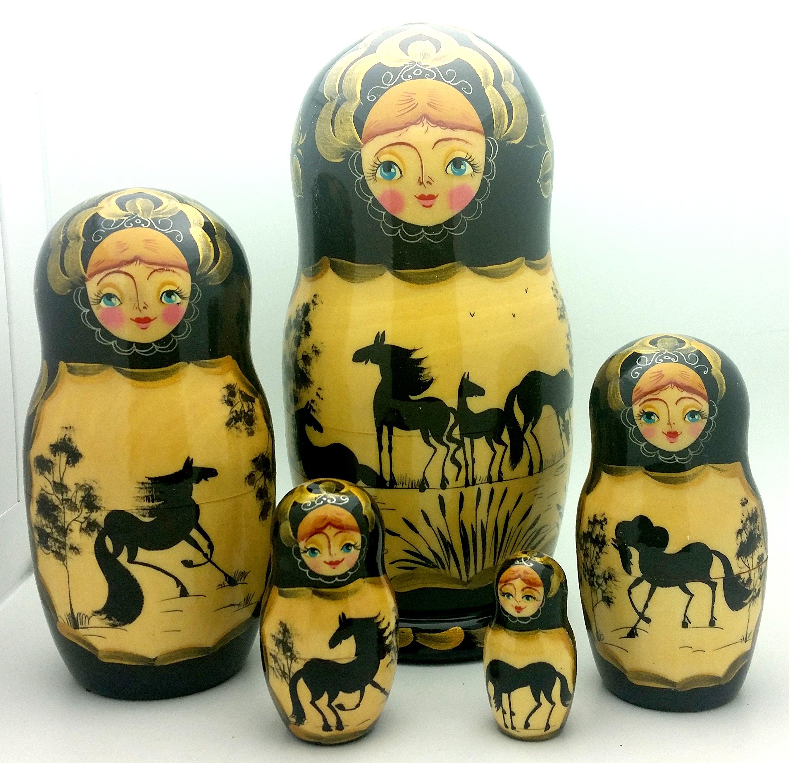 Horse Russian Nesting dolls 5 piece Set / 7 1/3''
