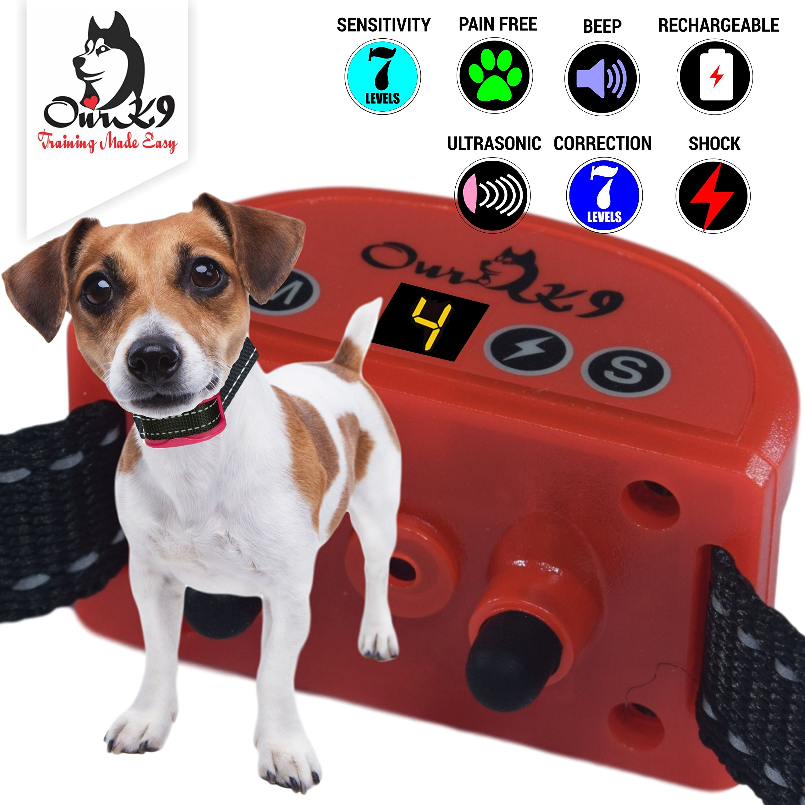 Our K9 Training Made Easy Worlds Safest Shock Collar 7 Levels of Sensitivity and Shock with 5 Levels of Sound and Ultrasonic Plus Safety Protocols (Carmine)