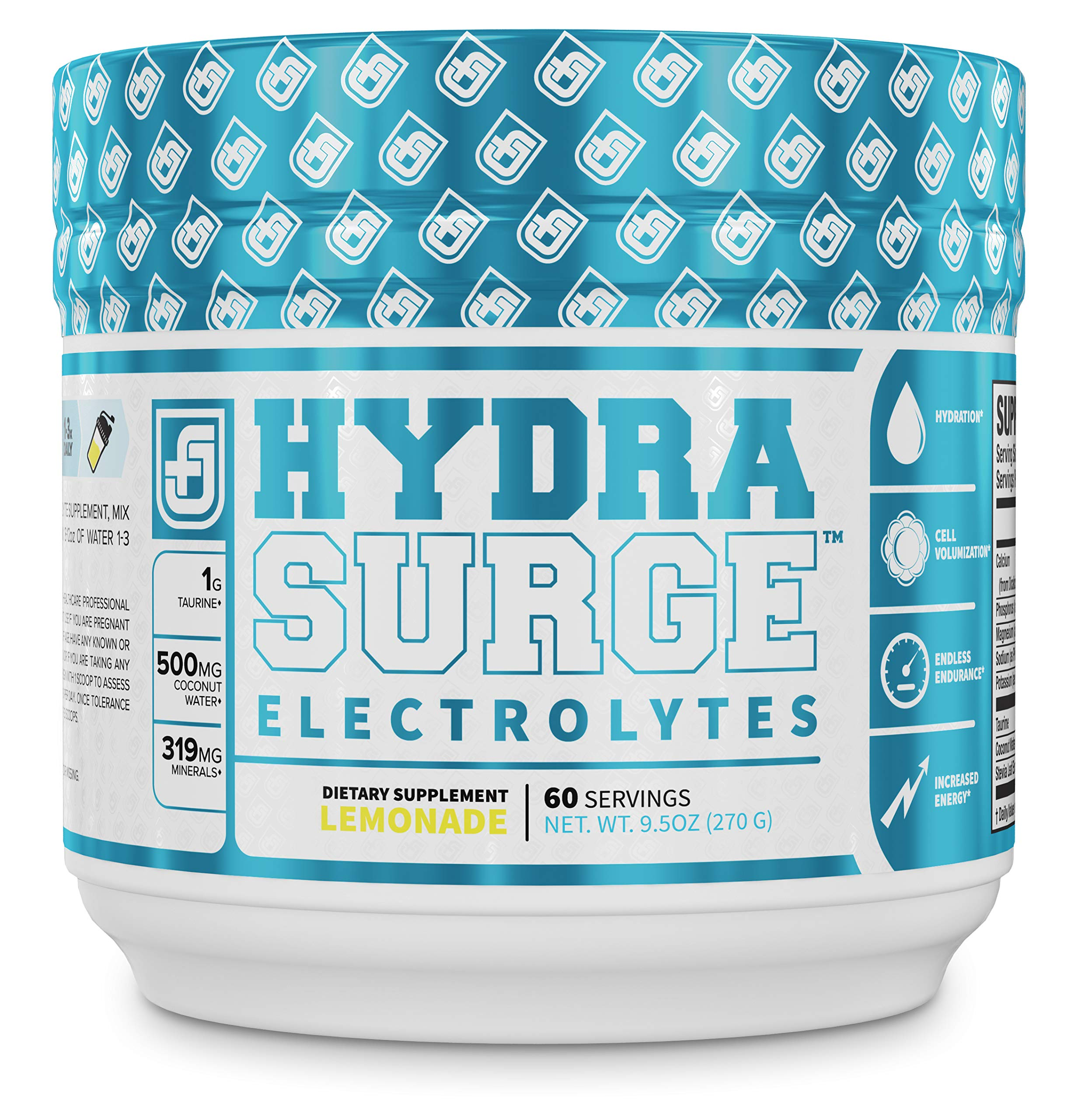 HYDRASURGE Electrolyte Powder - Hydration Supplement with Key Minerals, Himalayan Sea Salt, Coconut Water, More - Keto Friendly, Sugar Free & Naturally Sweetened - 60 Servings, Refreshing Lemonade by Jacked Factory