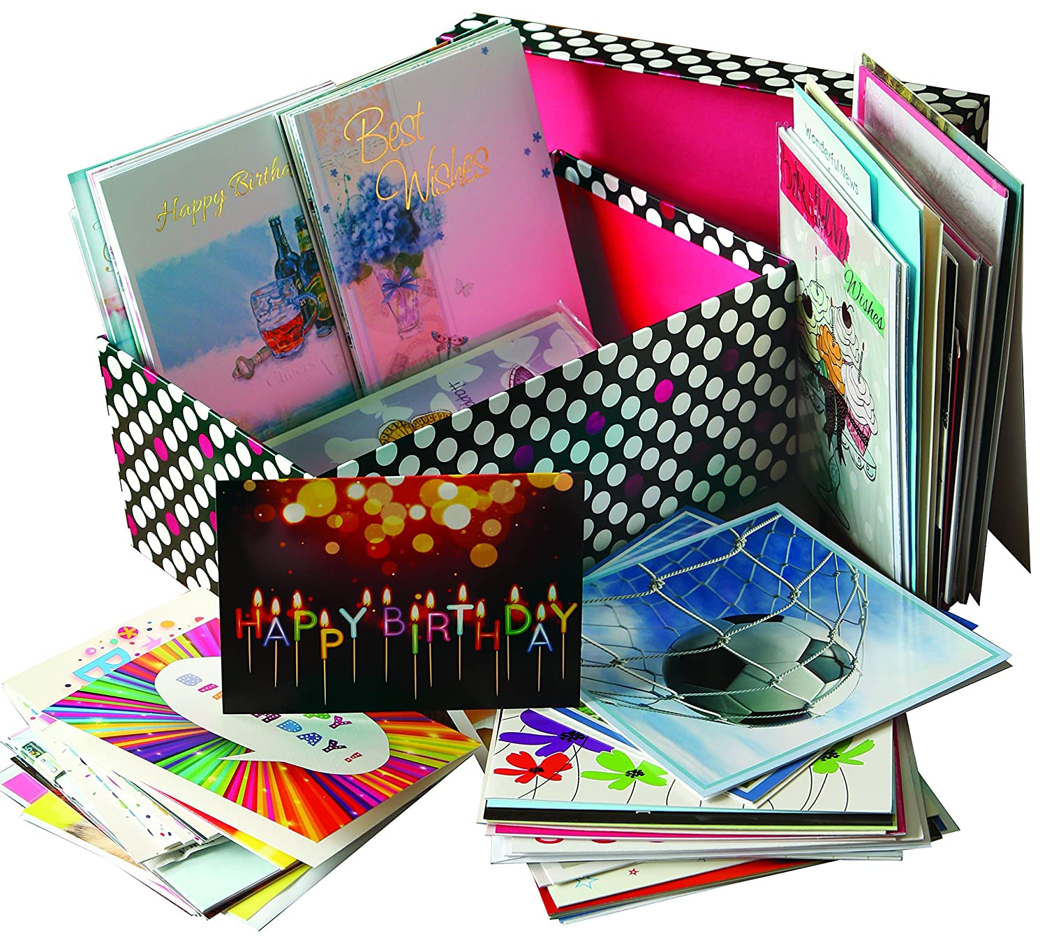 60 Wholesale Mixed Bulk Selection Pack Of Birthday Greeting Cards