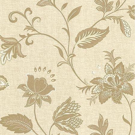 BHF 302 66824 Heritage Gold Jacobean Flower Wallpaper