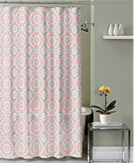 Amazon.com: InterDesign Daizy Shower Curtain, Gray and Coral, 72 x ...