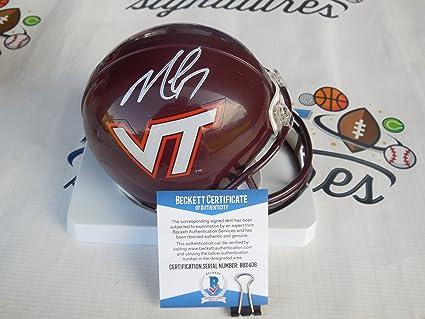 c3b7a0ae22f Michael Mike Vick Signed Virginia Tech VT Hokies mini helmet Beckett ...