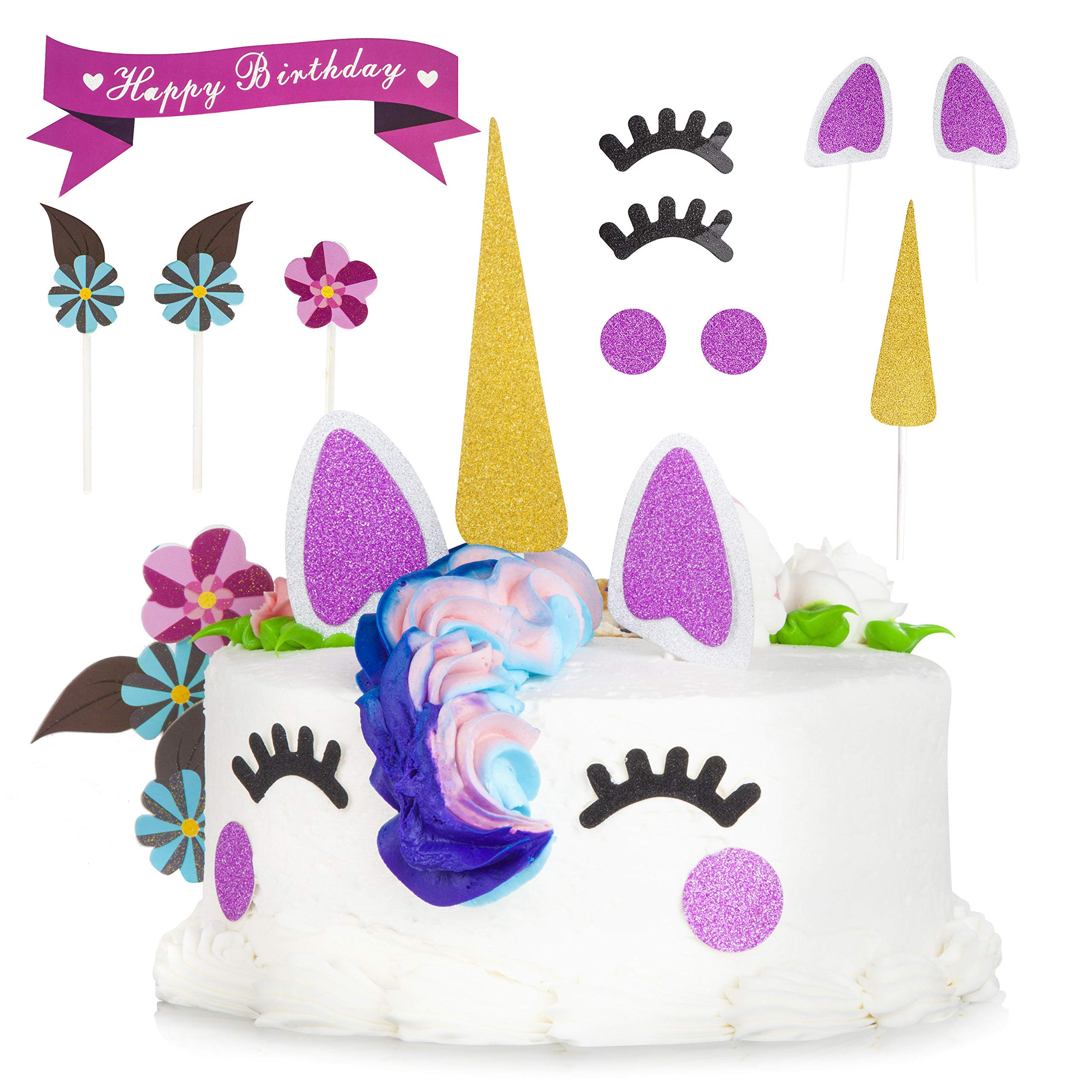 Unicorn Cake Topper and Cupcake Toppers & Wrappers (24) Unicorn Party Supplies with Eyelashes, Unicorns Horn, Ears, Cake Decorations Kit, Tissue Flowers, Balloon Set - Perfect for Birthday by Ross & Chris (Image #3)