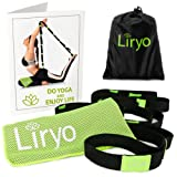 Liryo Yoga Strap for Stretching with 12 Loops - Non Elastic Stretch Strap for Physical Therapy Exercises - Fitness and Pilates Workouts - Includes Bamboo Cooling Towel, eBook Guide and Carry Bag