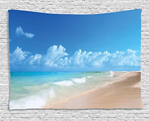 Ambesonne Hawaiian Tapestry, Tropical Seacoast Wavy Ocean Fluffy Clouds on Horizon Summer Holidays Scenery, Wide Wall Hanging for Bedroom Living Room Dorm, 80 X 60 , Blue Turquoise