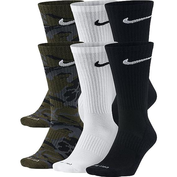 Nike Dri-Fit calcetines (tamaño mediano/6 pares) negro/blanco Tamaño Mediano: Amazon.es: Zapatos y complementos