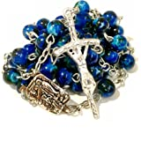 Deep Sea Blue Rosary - Ocean-Inspired Christian / Catholic Gift Prayer Beads in Nondenominational Gift Box - Rosario Azul