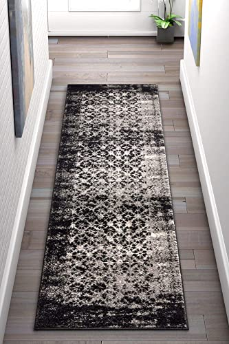 Well Woven Cheshire Grey Moroccan Lattice Vintage Modern Casual Traditional Trellis 3×12 2 7 x 12 Runner Area Rug Thick Soft Plush Shed Free