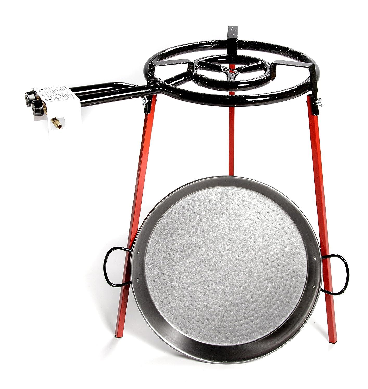 Paellera Valenciana Eco-Set Paella Pan 38cm /& 300mm Ring Gas Burner /& Tripod Stand