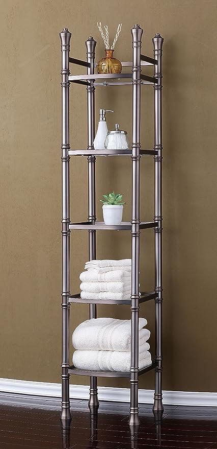 marvelous Brushed Nickel Bathroom Etagere Part - 9: Best Living Monaco 5-Tier Tower Etagere Shelf, Brushed Titanium
