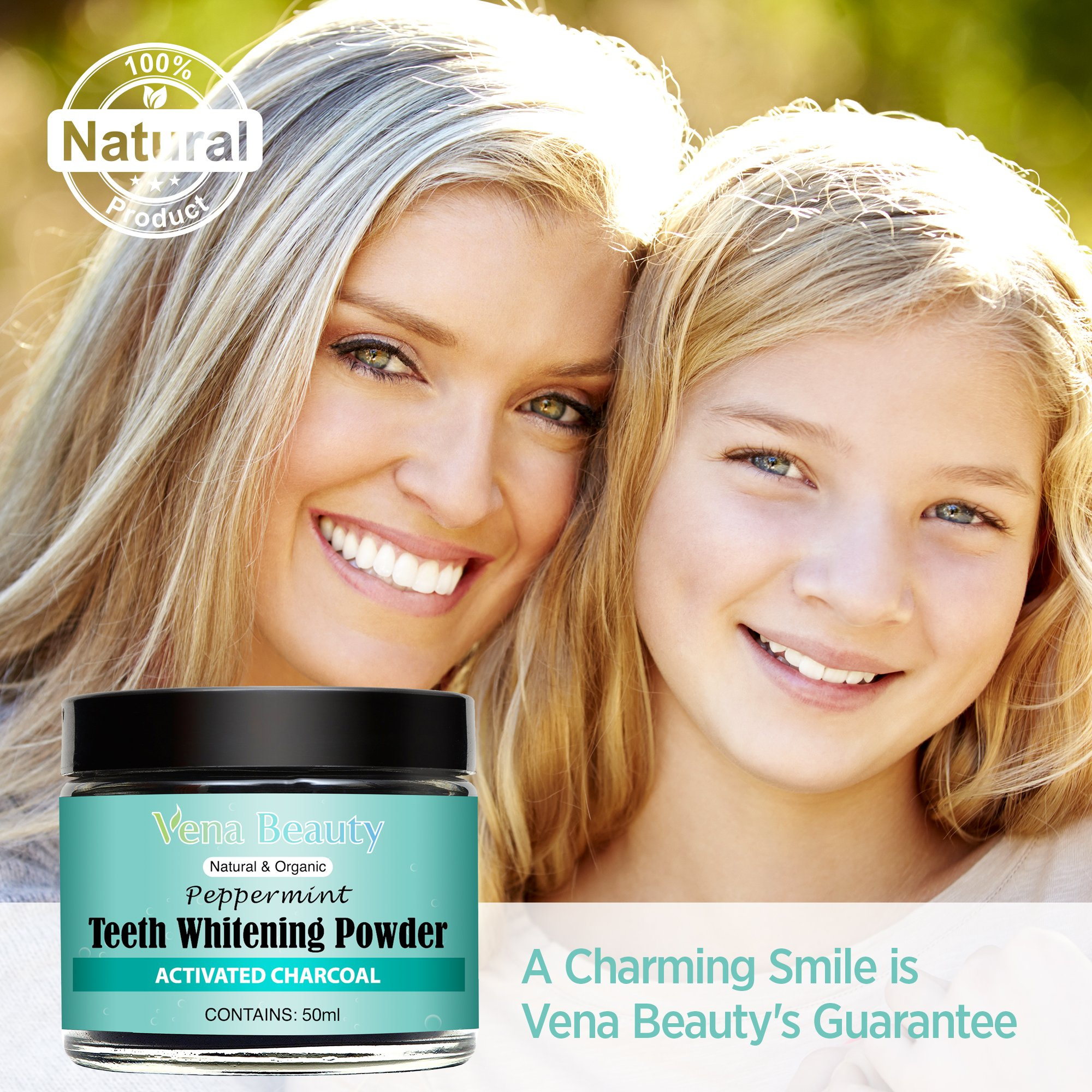 Natural Teeth Whitening Powder - Made with Organic Bamboo Activated Charcoal and Food Grade Formula –for Sensitive Teeth and Healthy Whitener (30ml) by Gemmaz (Image #3)
