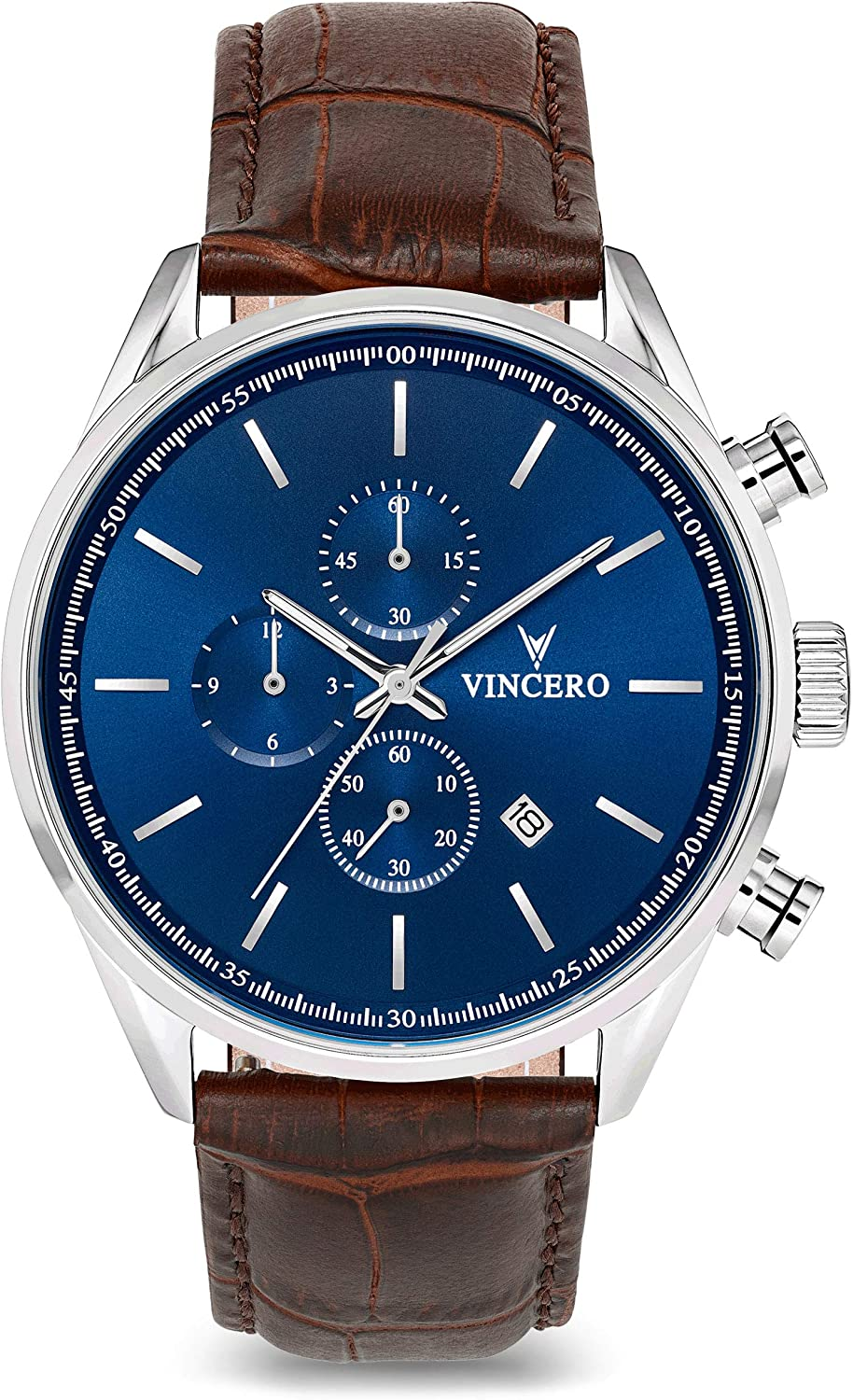 Vincero Luxury Men s Chrono S Wrist Watch – Blue dial with Brown Leather