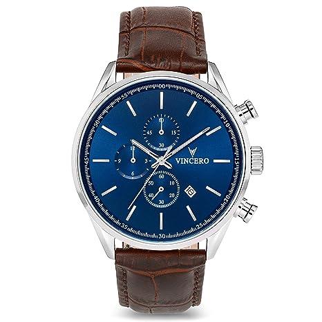aeedbe0db22 Montre bracelet de luxe Vincero Chrono S pour homme - Cadran bleu avec  bracelet en cuir marron - Montre Chronographe 43mm - Mouvement à quartz  japonais  ...