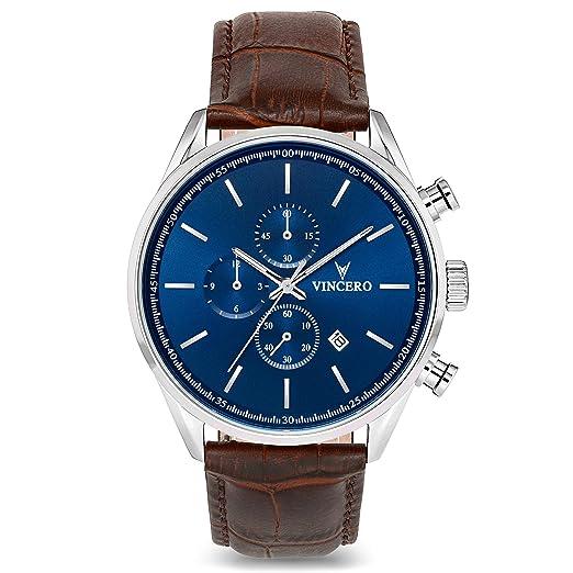 Vincero- Reloj de Pulsera Chrono S de Lujo para Caballeros- Reloj con Disco Azul y Correa de Cuero Marrón: Amazon.es: Relojes