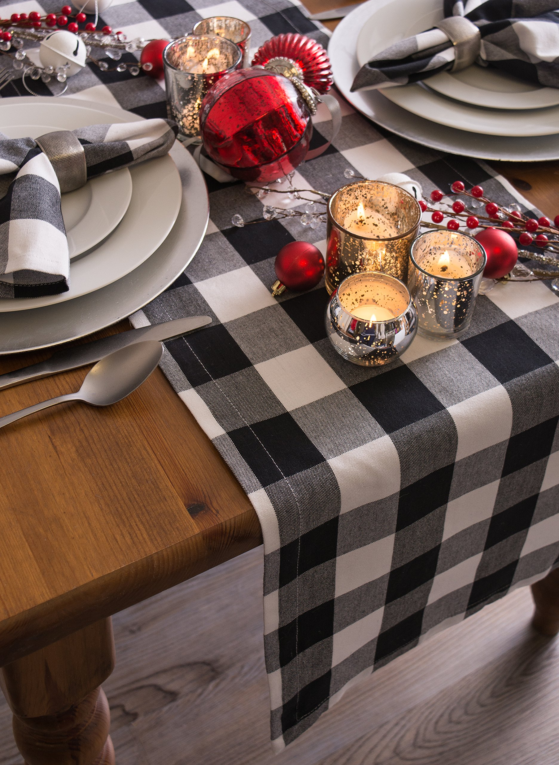 DII Cotton Buffalo Check Table Runner for Family Dinners or Gatherings, Indoor or Outdoor Parties, & Everyday Use (14x108'',  Seats 8-10 People), Black & White by DII (Image #7)