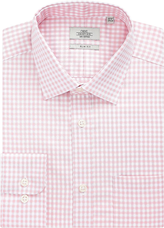 next Hombre Camisa De Cuadros Gingham - Puño Sencillo Y Corte Ajustado Rosa Cuello 45.5 cm Long: Amazon.es: Ropa y accesorios