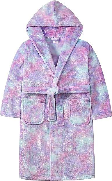 4Kidz Kids Childrens Girls Heart Print Dressing Gown Fleece Hooded Robe New