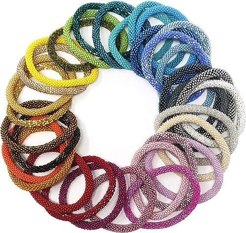 3 SET Nepal Rolls Glass Beaded bracelet crochet handmade bead bangle USA