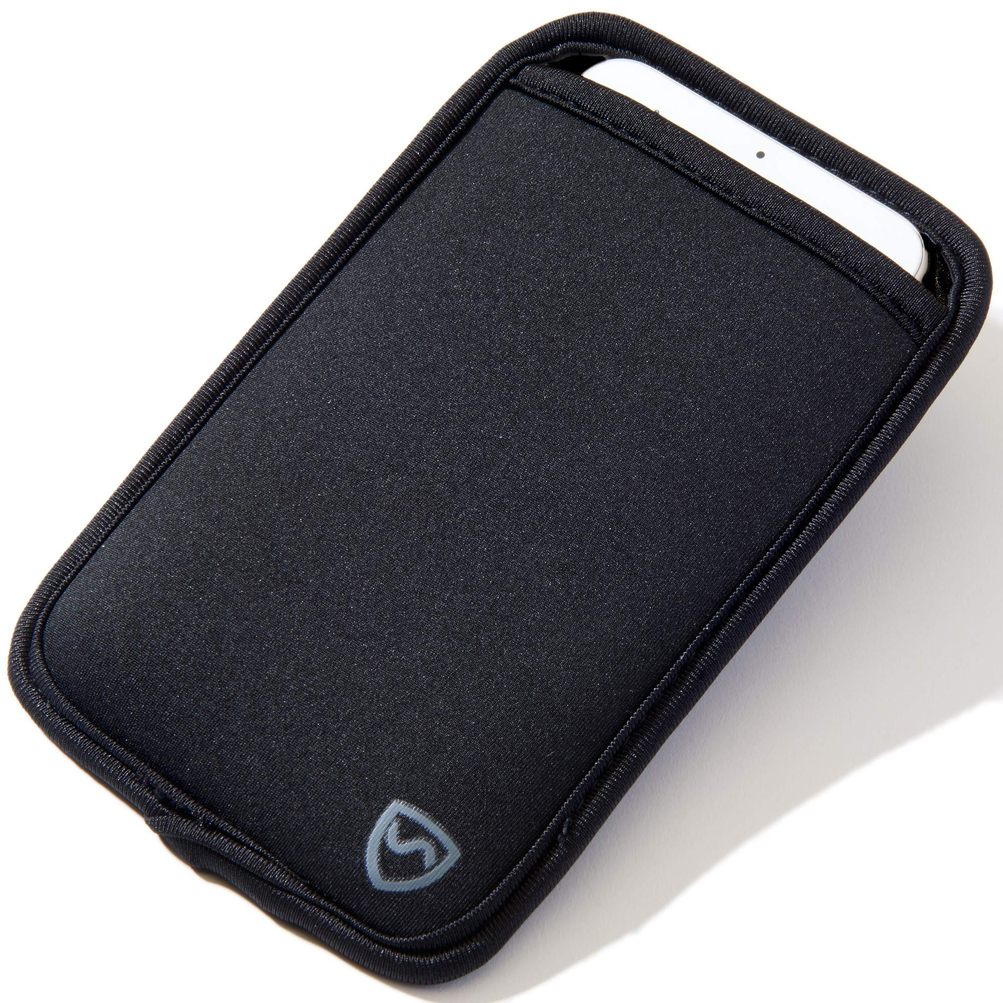 SYB Phone Pouch, Neoprene EMF Protection Sleeve for Cell Phones up to 3.25'' Wide, Black by SYB