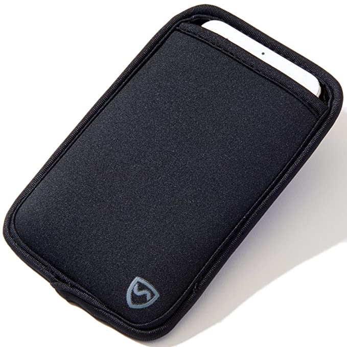 """wholesale dealer d50a4 47286 SYB Phone Pouch, Neoprene EMF Protection Sleeve for Cell Phones up to 3.25""""  Wide, Black"""
