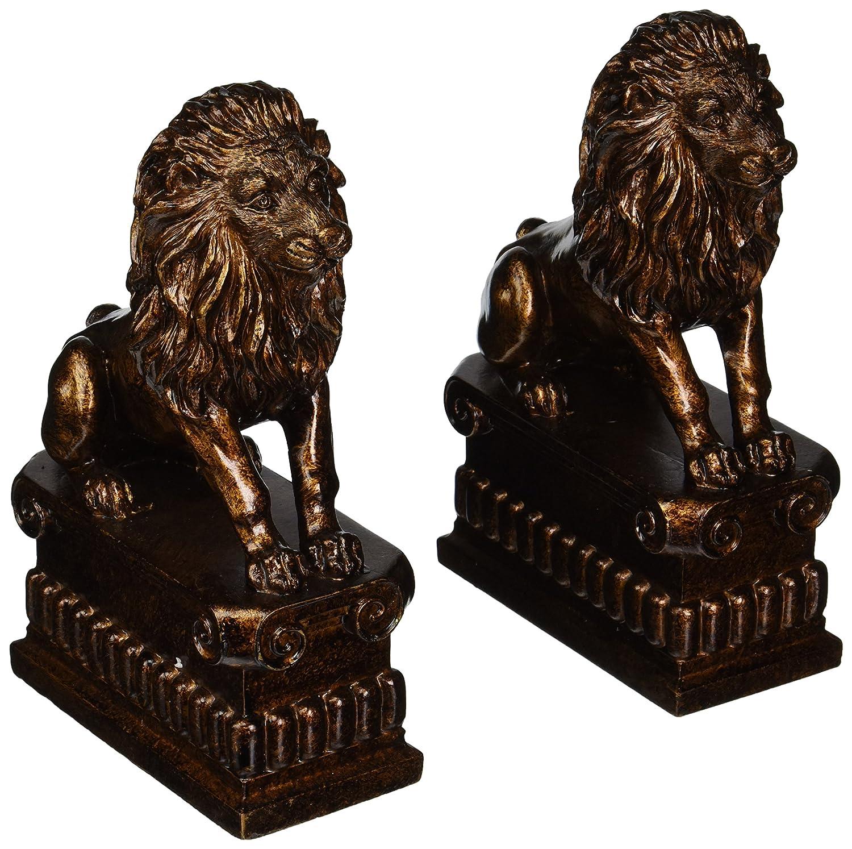 amazon com deco 79 polystone lion bookend pair unique table and
