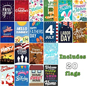 Seasonal Garden Flags Set | 20 Pack Assortment of 12-inch x 18-inch Flags | Double-Sided, Polyester, Durable