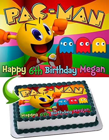 Pacman Edible Cake Topper Personalized Birthday 1 4 Sheet Decoration Custom Party Sugar