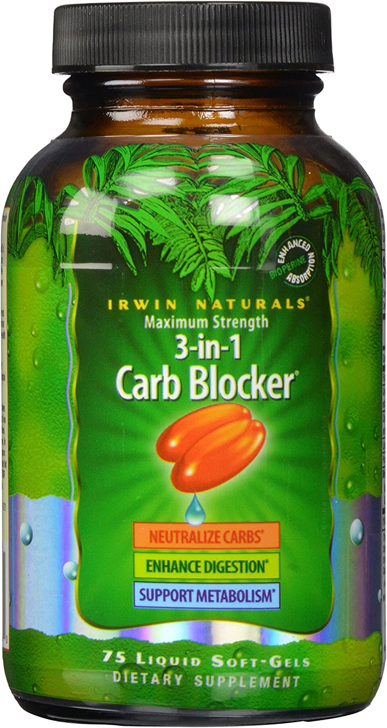 Maximum Strength 3-in-1 Carb Blocker by Irwin Naturals, Neutralize Carbohydrates and Support Metabolism, 75 Liquid Softgels