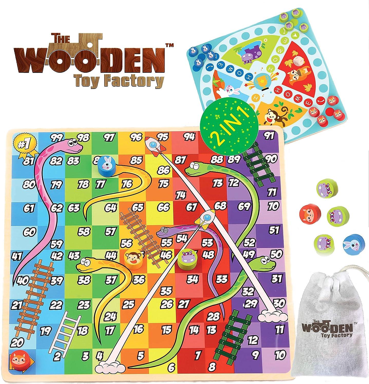 The Wooden Toy Factory - Juego de Mesa de Madera 2 en 1 - Serpientes y Escaleras / Carrera a Casa - Bono: Incluye Bolsa de Transporte para Fichas y Dados