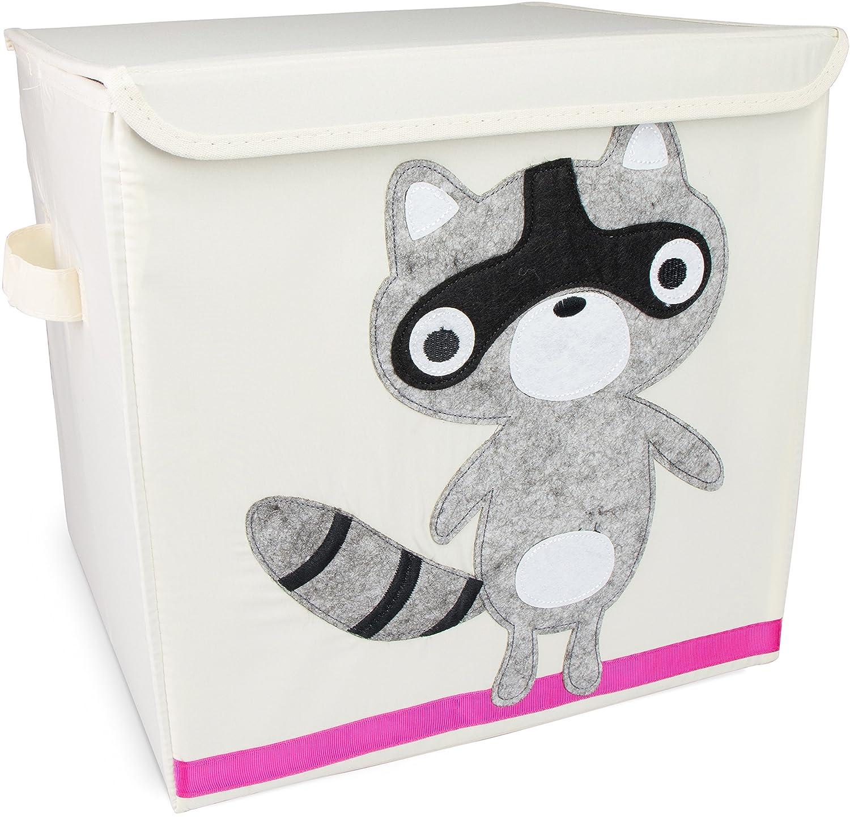 Grinscard Spielzeugkiste Raccoon mit Deckel - Beige ca. 35 x 33 x 33 cm - Toy Box Spielzeug Lagerung & Transport