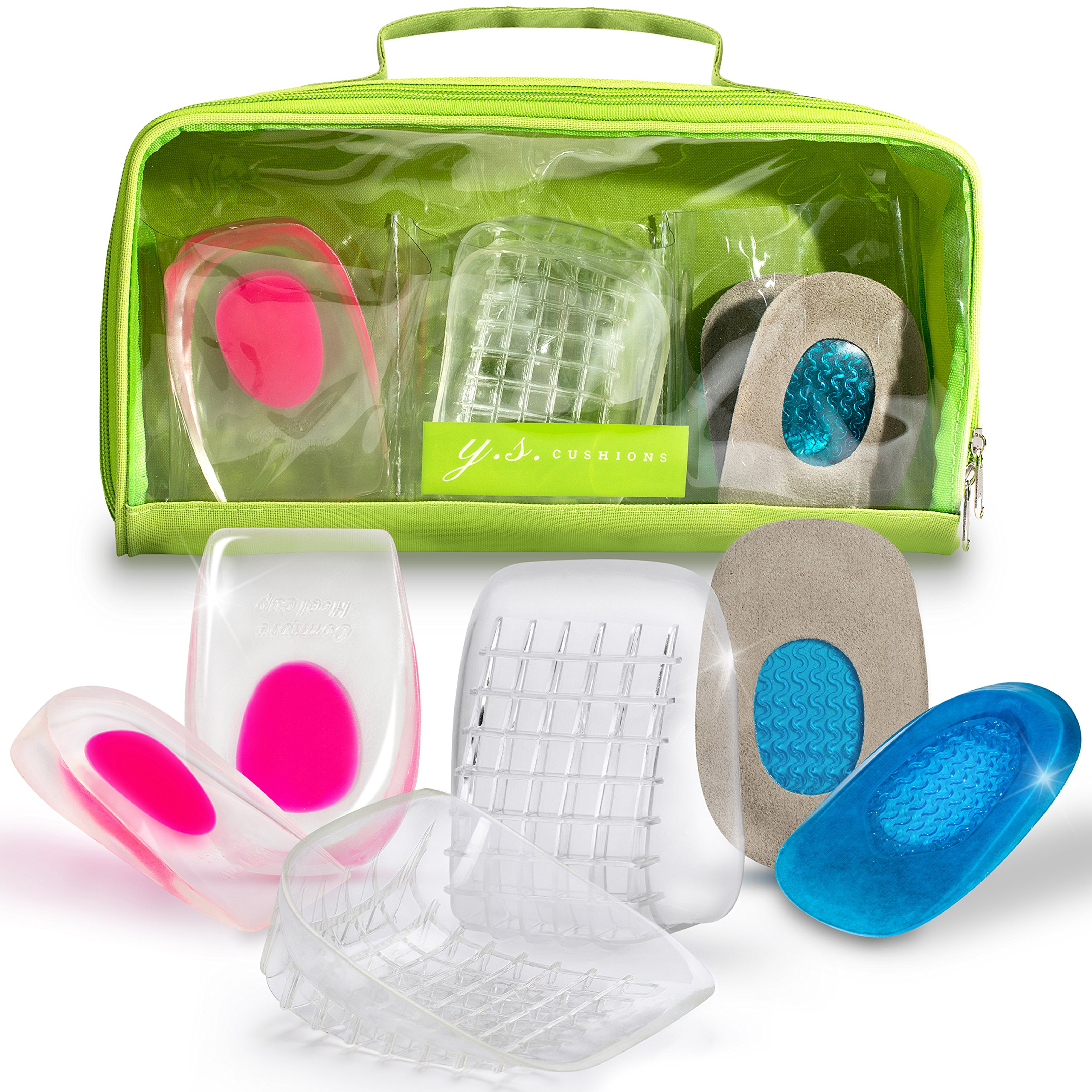Useful Set of 3 Different Heel Pads for Plantar Fasciitis Support. Shoe Inserts for Relief of Pain from Heel Spurs. Excellent for Training, Fitness, Running or Tennis games.