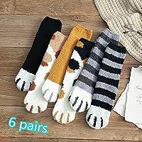 Chaussette Moelleuse Moelleuse pour Chaussettes de couchageCouette polaireChaussettes d'hiver - Griffes de Chat - Paquet de 6