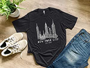New York City, NYC, Empire State Building/Statue of Liberty/Chrysler Building, Graphic Men's Tee, Funny T Shirt, Shirts with Sayings, Charcoal or Royal Blue