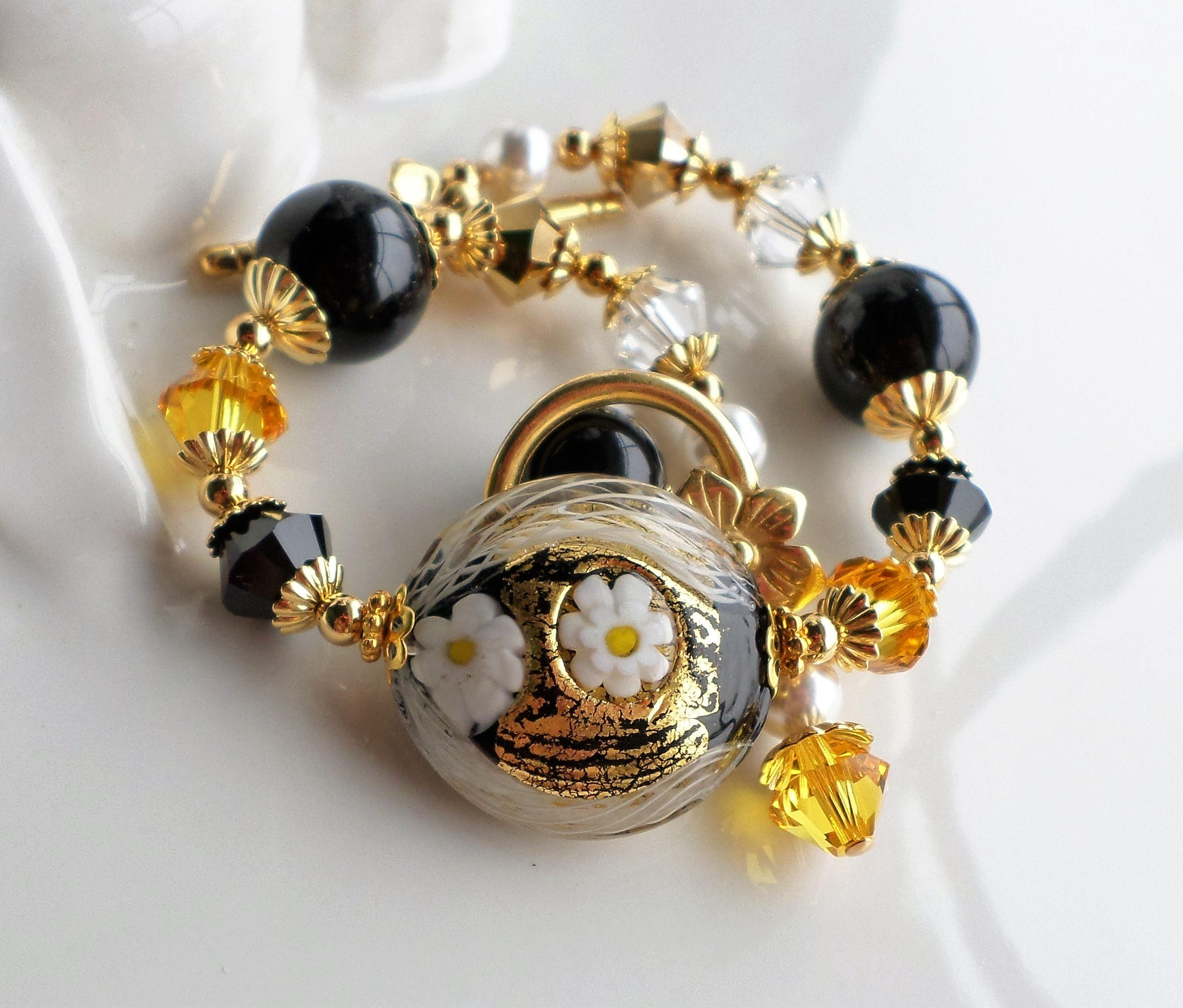 Murano Black and Gold Statement Bracelet by H&H Jewelry Designs