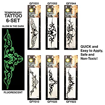 Amazoncom Fluorecent Lower Back 6 Set Temporary Tattoos Glow